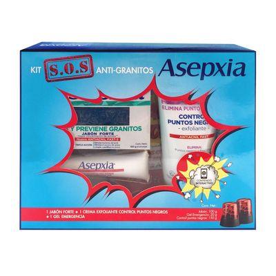 Asepxia-Kit-S.o.s-Antigranitos-Jabon---Crema---Gel