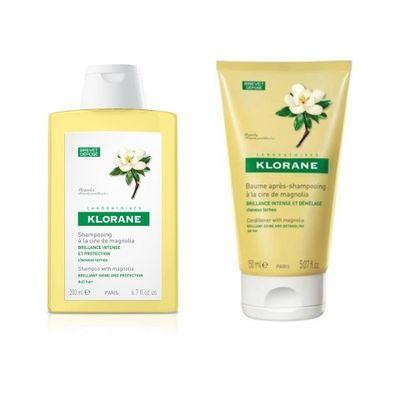 Klorane-Shampoo---Balsamo-A-La-Cera-Magnolia-Cabello-Brillo