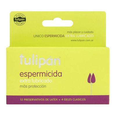 Tulipan-Espermicida-Preservativo-Extra-Lubricado-12-Unidades-en-Pedidosfarma