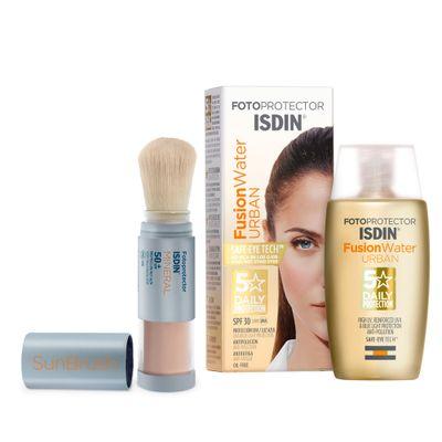 Isdin-Combo-Foto-Fusion-Water-Urban-FPS30---Fotoprotector-Sun-Brush-FPS50