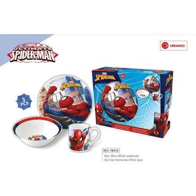 Spiderman-Hombre-Araña-Set-Ceramica-Infantil-Plato-Bowl-Taza-en-FarmaPlus