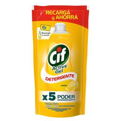 Cif-Active-Gel-Limon-Concentrado-Detergente-Repuesto-450-ml-en-FarmaPlus